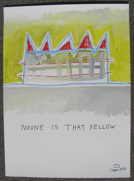 Noone is that yellow 30 x 22 acrylic, prismacolor, sharpie marker on cotton