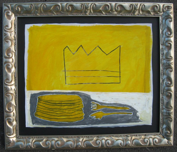 Crown with Pancakes20 x 24Acrylic, compressed charcoal, graphite on wood