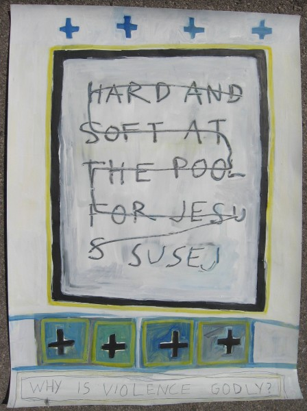 Hard and Soft at the Pool for Jesus30 x 22Acrylic, graphite, prismacolor on Cotton