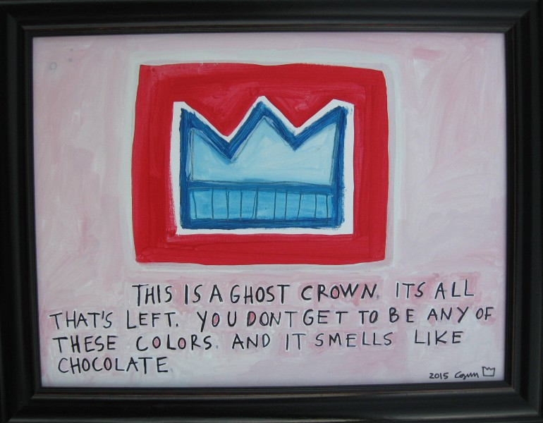 Ghost crown, smells like chocolate18 x 24Acrylic, graphite, sharpie marker