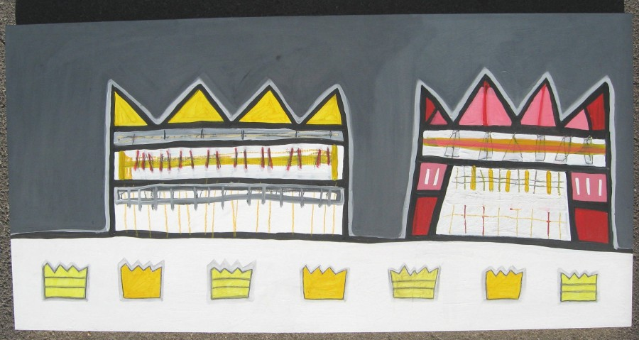 Two Crowns 24 x 48 x 2 Acrylic, graphite on wood panel