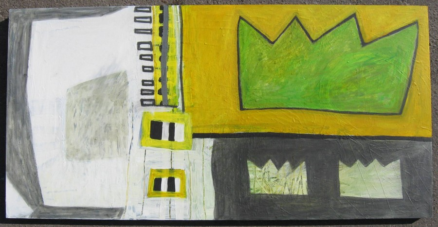 Yellow Green Crown Abstract 24 x 48 x 2 Acrylic, graphite, prismacolor on wood panel